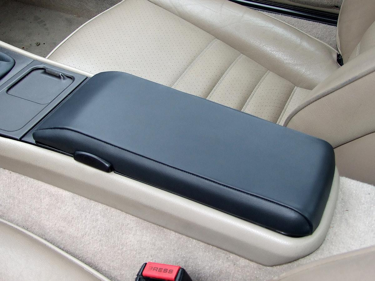 Leather armrest cover already installed on an armrest lid, Porsche 944, 1985.5 - 1991