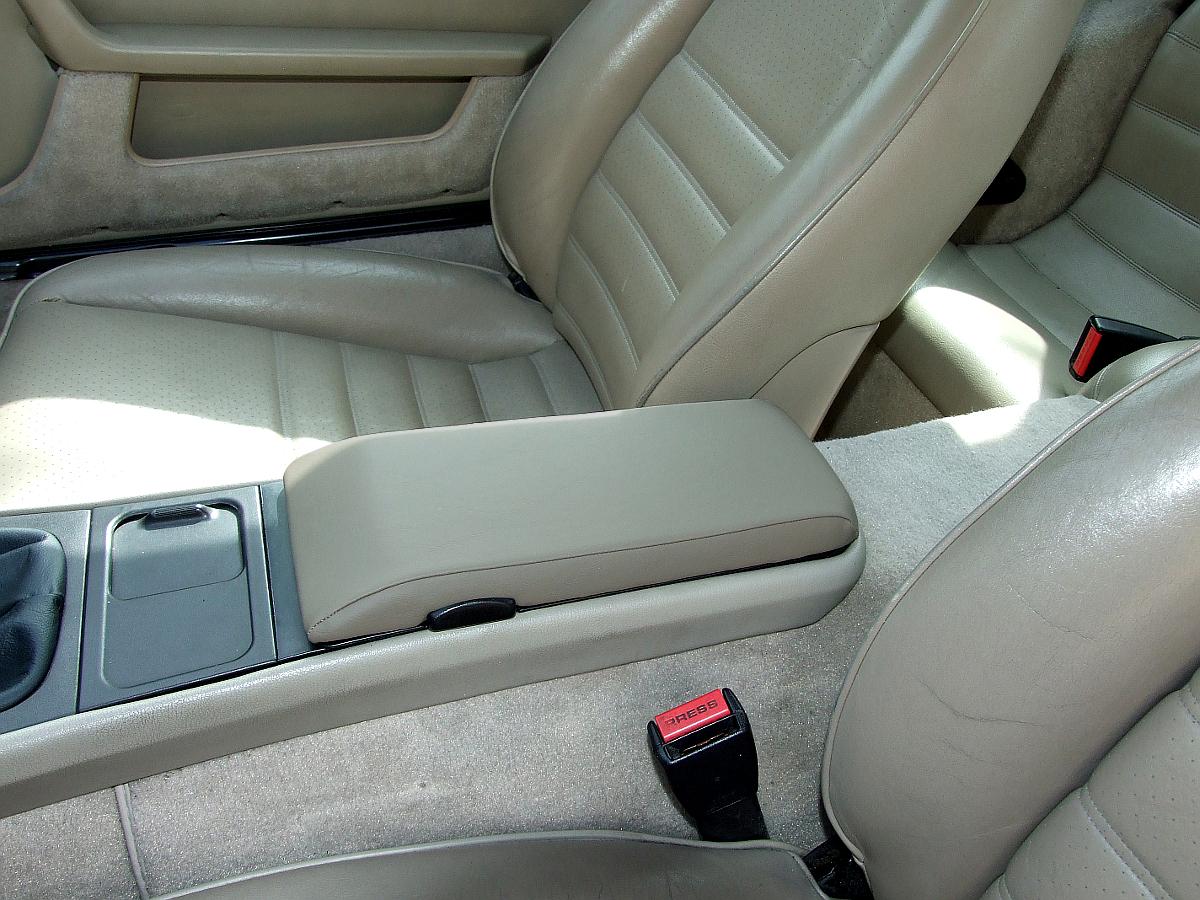 """Greige """"Porsche Light Gray"""" armrest cover already installed on an armrest lid, Porsche 944, 1985.5 - 1991"""
